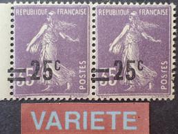 R1118/325 - TYPE SEMEUSE CAMEE - (PAIRE) N°218 NEUFS** BdF - VARIETE ➤➤➤ Surcharges à Cheval - Abarten: 1921-30 Ungebraucht