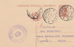INTERO POSTALE C.30 1922 TIMBRO TORRITA SIENA FOIANO DELLA CHIANA AREZZO (XM14 - Entero Postal