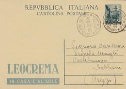 INTERO POSTALE 1953 L.20 QUADRIGA LEOCREMA TIMBRO CASTIGLION DEL LAGO PERUGIA (XM115 - Interi Postali