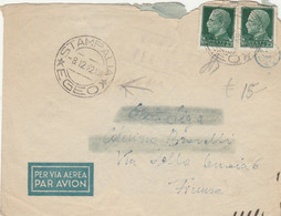 LETTERA 1942 2X25  TIMBRO STAMPALIA EGEO - COLONIE ITALIANE (XM197 - Marcofilie