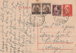 INTERO POSTALE 1946 60 C. +2X20 C.+2 L. TIMBRO BIBBIENA CATIGNANO PESCARA (XM341 - Postwaardestukken