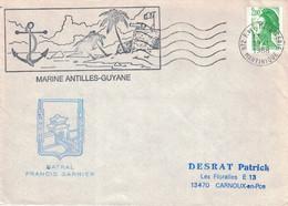 MARTINIQUE - F.DE.F. MESSAGERIE - GRAND CACHET MARINE ANTILLES-GUYANE - BATRAL FRANCIS GARNIER - LIBERTE DE GANDON DU 19 - Seepost