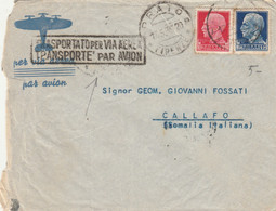 LETTERA 1939 C.75+1,25  TIMBRO PRATO FIRENZE-TRASPORTATO VIA AEREA.ADDIS ABEBA MOGADISCIO SOMALIA (XM368 - Poststempel