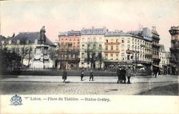 Liège - La Place Du Théâtre - Statue Grétry (animée Colorisée Edit. Grand Bazar) - Liège
