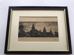 CAEN Serie De 3 Gravures Signées & Encadrées (Tours De St Etienne, Entrée De La Rue St Jean - Andere