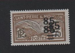 Faux Curiositée Triple Surcharge N° 122b, 85 Sur 75 Saint-Pierre Et Miquelon Gomme Sans Charnière - Ungebraucht