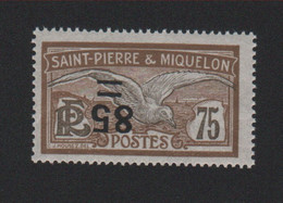 Faux Curiositée Surcharge Renversée N° 122c, 85 Sur 75 Saint-Pierre Et Miquelon Gomme Sans Charnière - Ungebraucht