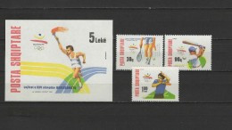 Albania 1992 Olympic Games Barcelona, Tennis, Table Tennis Etc. Set Of 3 + S/s MNH - Verano 1992: Barcelona