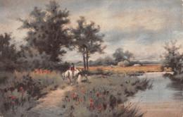 R481901 River. A Man On A Horse. Inter Art Co. Colour Gravure Series No. 5046 - Monde