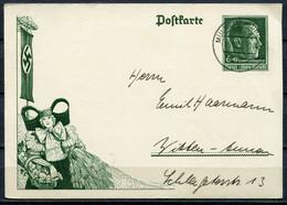 """German Empires 1938 Ganzsache Kopfbild A. Hitler,Erntedanktag Mi .Nr.P273 Mit Tstp.""""Mülheim,Ruhr """"1 GS Used - Brieven"""