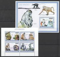 TG1274 2010 TOGO TOGOLAISE FAUNA ANIMALS MONKEYS LES SINGES 1KB+1BL MNH - Apen