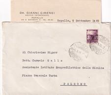Italia Democratica - Busta Con Lettera - Rapallo - Palermo - Affrancata Lire 20 - 1946-60: Marcofilia