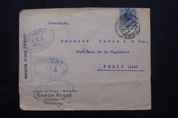 ESPAGNE - Enveloppe Commerciale ( Illustration Au Dos )de Barcelone Pour Paris En 1916 Avec Contrôle Postal - L 75617 - Cartas