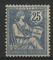N° 127 COTE 120 € Neuf * (MH). TB. Charnière Légère. Mouchon 25ct Bleu. - 1900-02 Mouchon