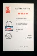 MENU - BRASSERIE GEORGES - LYON - Avec Oblitération TGV 1975 - Menus