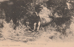 LES VOSGES UN SCHLITTEUR METIERS DU BOIS BUCHERON DOS NON DIVISE CLICHE ANTERIEUR A 1903 - Sonstige Gemeinden