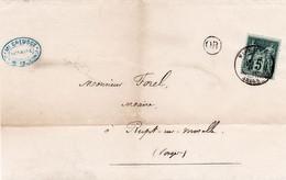 5c Sage Type II Obl Machault Ardennes 26 Avril 1880 Origine Rurale St Etienne à Arnes Sur Imprimé Pour Les Vosges - 1877-1920: Période Semi Moderne