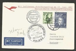 Aérophilatélie - Lufthansa - Berlin-Barth (Rostock/Stralsund) 16.6.57 - Bodensee-Konstanz, Wildgans,Vorarlberg-Montafon - Luchtpost