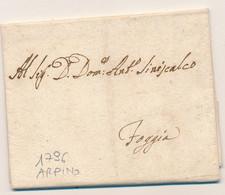 1796  PREFILATELICA REGNO DI NAPOLI ARPINO LETTERA CON TESTO - 1. ...-1850 Prephilately