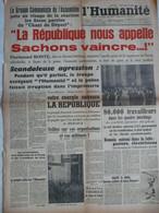 Journal Humanité 1 Décembre 1947 Florimond Bonte Roger Garaudy Police Irruption Imprimerie Cheminot Mineur - Andere