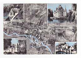 37 AZAY LE RIDEAU N°46 Plan Aérien De La Ville Carte Dentelée Non Voyagé - Azay-le-Rideau