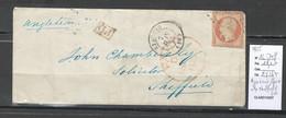 France -Lettre D' AJACCIO - Corse - 1855 - Pour Sheffield - Angleterre - Yvert 16 - 1849-1876: Periodo Clásico