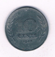 10 CENTS 1942 NEDERLAND /8859/ - 10 Cent