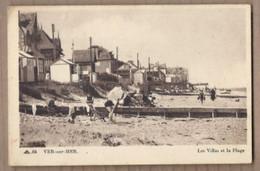 CPA 14 - VER-sur-MER - Les Villas Et La Plage - ANIMATION + Habitations Au Bord De L'eau TAMPON PARAGE Café Epicerie - Andere Gemeenten