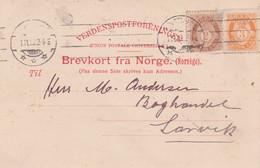 Norway-1910 3 Ore Orange + 2 Ore Brown On Christiania Postcard Cover To Larvik - Cartas