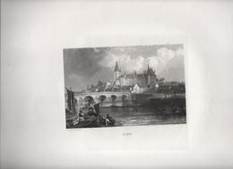 Gravure Ancienne/Bords De Loire/GIEN/ Dessinées  Et Gravées Par ROUARGUE Frères/ Paris/1850     LOIR3 - Engravings