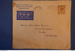 D86 ENGLAND 1945 BELLE LETTRE CENSUREE PAR AVION BIRMINGHAM POUR SUISSE BIENNE + TIMBRE PERFORé - Briefe U. Dokumente
