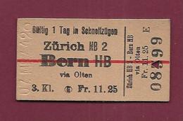 051120 - TICKET TRANSPORT SUISSE - ZURICH BERN HB FR 11.25 3 Kl KB2 N° 08599 - 7 Mrz 42 - Wereld