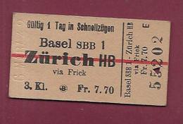 051120 - TICKET TRANSPORT - 1942 SUISSE Basel SSB 1 ZURICH HB Via Frick 3 Kl FR 7.70 55202 - Wereld