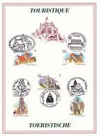 B01-203 Bel PTT 2561 à 2565 Tourisme Villes CS - Carte Souvenir FDC 5 Cachets Différents 7€ - Herdenkingskaarten