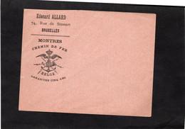 Enveloppe Illustrée - MONTRES - CHEMIN DE FER BELGE - Edouard ALLARD  à BRUXELLES (Enveloppe Vierge, Non Circulée) - Zonder Classificatie