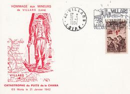 HOMMAGE AUX MINEURS DE VILLARS LOIRE 1984 - Commemorative Postmarks