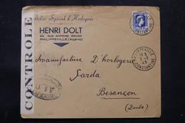 ALGÉRIE - Enveloppe Commerciale ( Horlogerie ) De Philippeville Pour La France En 1945 Avec Contrôle Postal - L 75738 - Cartas