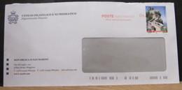STPN820  BUSTA  PT - POSTE SAN MARINO UFFFICIO CENTRALE  DELRECAPITO  + 1,00€ CONTRADA DELLE MURA PRIMA TORRE O GUAITA - Briefe U. Dokumente