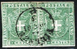 Toscana 1860 Governo Provvisorio Sass.18 Coppia O/Used VF/F Cert. Oliva - Toscana