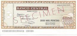 TRAVELLERS CHEQUES SPAIN BANCO CENTRAL 2000 PESETAS 1970'S SPECIMEN - Assegni & Assegni Di Viaggio