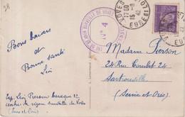 """FRANCE : GUERRE . CP . AVEC CENSURE . """" CENTRE DE SEJOUR SURVEILLE DE VOVES (28) """" . 1942 . - Steuermarken"""