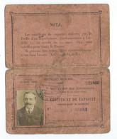 CARTE CERTIFICAT DE CAPACITE Circulation Automobiles  Voiture A Petrole  1919 - Altri