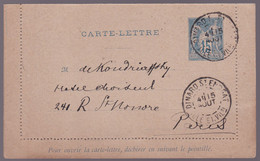 FRANCE - Entier Postal - Carte-lettre - 15c Bleu - Sage - Kaartbrieven