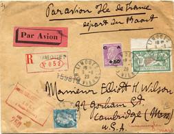 """FRANCE LETTRE RECOMMANDEE PAR AVION """" ILE DE FRANCE """" DEPART LIMOGES 9-8-29 Hte VIENNE POUR LES ETATS-UNIS - Air Post"""