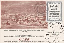 ANDORRE ASSEMBLEE GENERALE COMMISSION DE PHILATELIE 1983 - Cartas