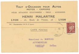Cpa Pub Henri Malartre, Lyon, Occasion Autos, Motos, Camions, Adressée à Remuzat (Drôme), Timbre Pétain (PUB) - Advertising