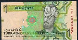 TURKMENISTAN P22 1 MANAT 2009 Early Prefix #AA       UNC. - Turkmenistan