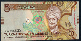 TURKMENISTAN P23 5 MANAT 2009 Early Prefix #AA       UNC. - Turkmenistan