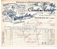 FACTURE DU DOUBS DE 1911 - FABRIQUE D'HORLOGERIE CAMILLE MERCIER A MORTEAU - Andere