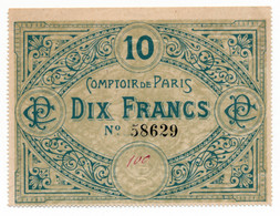PARIS // COMPTOIR De PARIS // Bon De Dix Francs - Buoni & Necessità